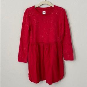 Gap Kids Longsleeve Glitter Red Dress Size XS